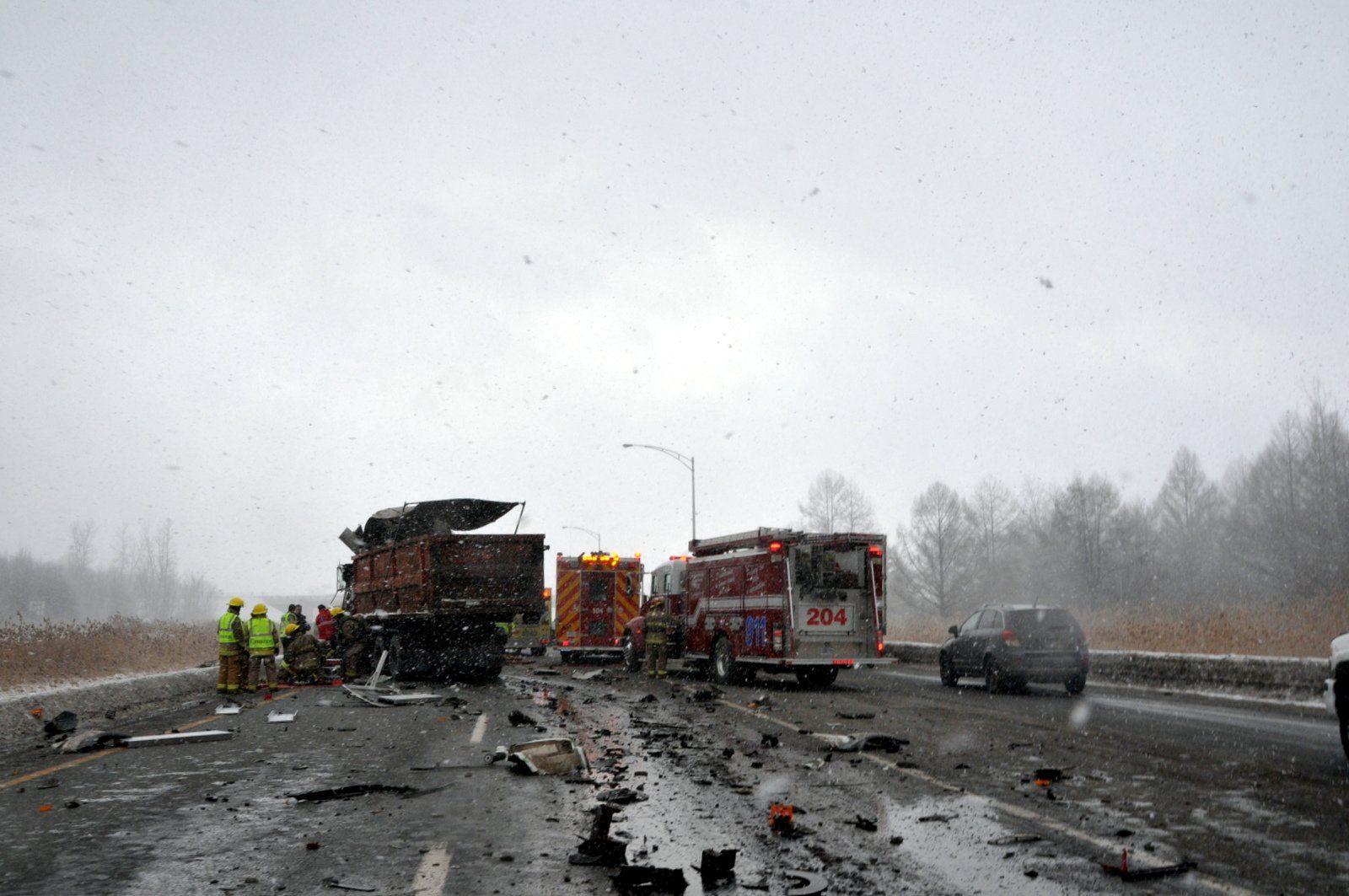 Des débris sur la route ont causé l'accident sur la 20