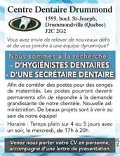 HYGIÉNISTES DENTAIRES / SECRÉTAIRE DENTAIRE