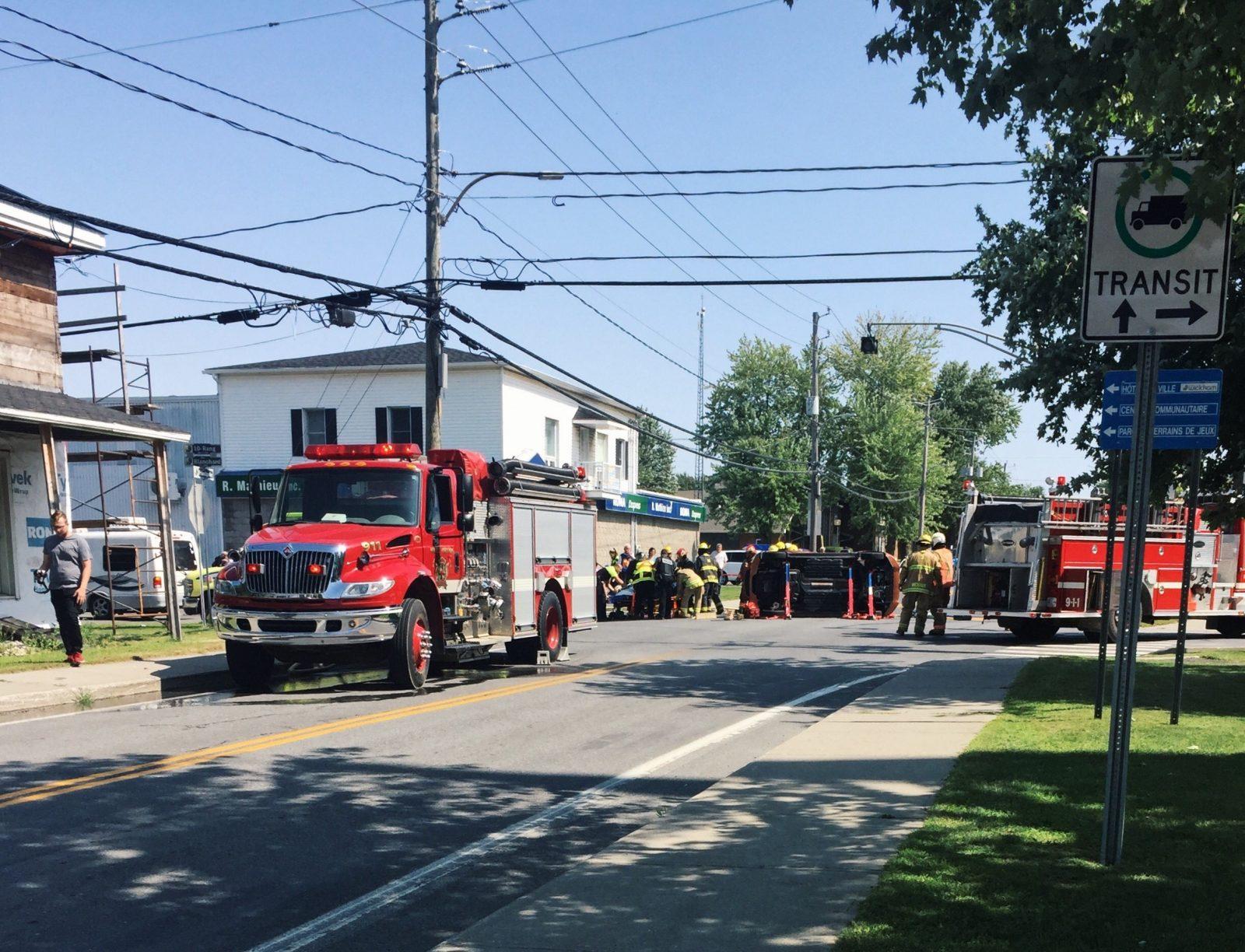 Collision au coin de la route139 et de la rue Blanchard à Wickham