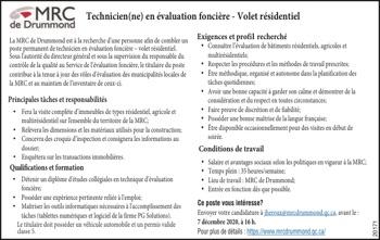 Technicien(ne) en évaluation foncière