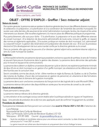 Greffier / Secr. trésorier adjoint