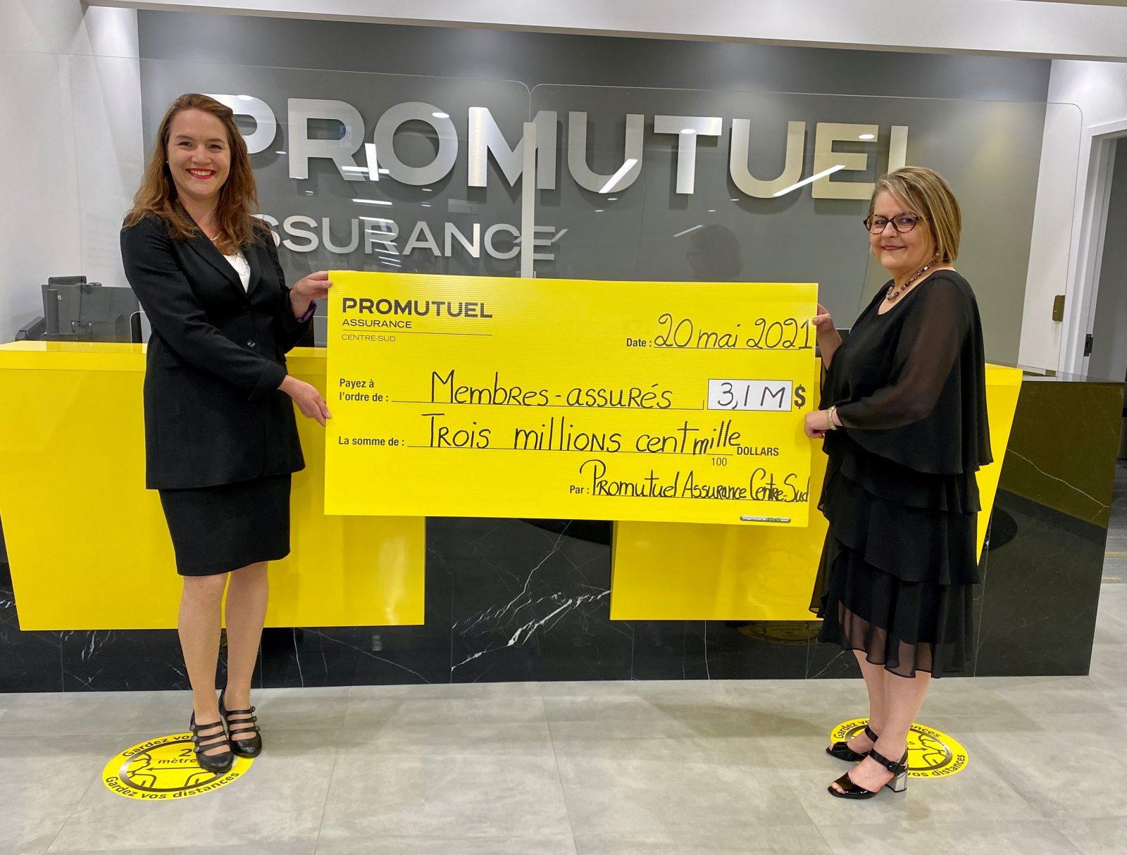 Promutuel Assurance Centre-Sud distribuera une ristourne de 3,1 M $ à ses membres
