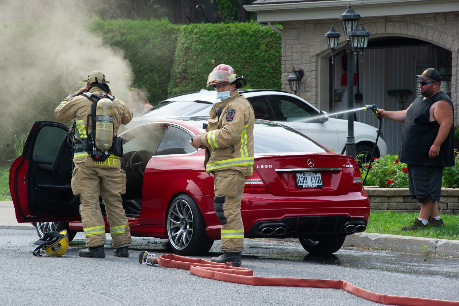 Intervention des pompiers sur la Terrasse des Grands-Maîtres