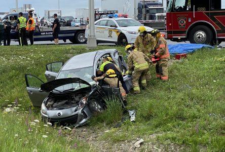 Une femme blessée dans une collision