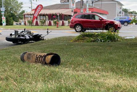 Deux blessés dans une collision entre une moto et une voiture